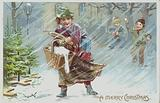 Greetings card depicting children throwing snowballs at a man carrying his Christmas shopping in a snowy scene