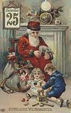 German greetings card depicting Santa Claus with his sack of Christmas presents as children play at his feet