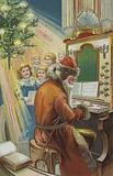 Christmas greetings card depicting St Nicholas playing an organ for a group of children