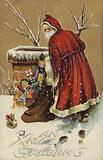 Christmas greetings card depicting Santa Claus on a roof delivering his gifts