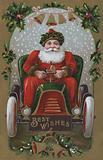 Christmas greetings card depicting Santa Claus driving a car