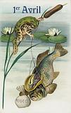 Frog fishing: April Fool's Day greetings card
