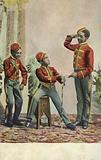 Three young black hotel bellboys