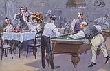 Comical scene in a billiards hall