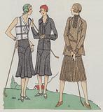 Women's golf wear from the 1930s by designers Drecoll-Beer and Louise Boulanger