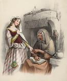 Beautiful young girl visiting a witch to consult her about the future