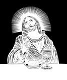 Jesus Christ, blessing bread and wine, holy sacrament