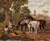 English farmers ploughing