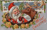Santa Claus feeding a reindeer a treat, Christmas card