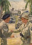 British army sergeant offering his American counterpart a cigarette as the allies meet up during the North African …