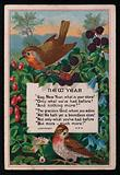 Verse, berries and birds, New Year's greetings card