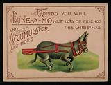 Donkey and Christmas message, greetings card
