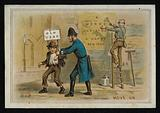 Policeman overseeing the arrival of the New Year, greetings card