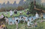 Young children bathing in a river