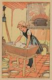 Young girl preparing dough to make bread