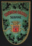 Creme de Cassis, liqueur label