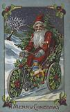 Father Christmas riding a tricycle in the snow