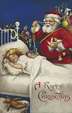 Father Christmas delivering presents to a litte girl asleep in bed