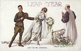 Leap Year: bride dragging a soldier to the altar