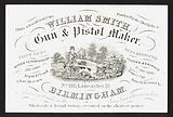 Trade card for William Smith, gun and pistol maker, Birmingham