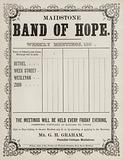 Meeting schedule sheet for the Maidstone Band of Hope, 1860s