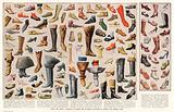 Boots and shoes: examples of indoor and outdoor footwear of ancient and modern times