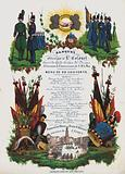 Menu for a banquet hosted by the Colonel of the Civic Guard of Bruges in honour of the birthday of the King of the Belgians