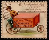 Travelling saleman: trade card offering seasonal greetings