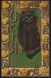 Halloween card, Black Cat and Pumkins