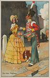 Soldier and woman in Georgian dress: advertisement for Sunlight soap