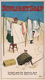 Woman hanging out her washing watching a robins perched on her laundry basket: advertisement for Sunlight soap