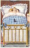 Three children in bed, frightened by a mouse