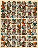 Santa Claus, sheet of heads