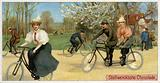 Men and women on bicycles
