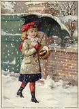 Girl with umbrella in a snow shower