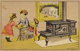 Mother and children eating next to stove