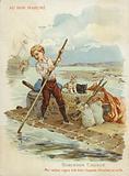 Robinson Crusoe on raft.