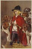 Girl in hunting jacket with hounds