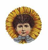 Lady Wearing Sunflower Hat, Head Only