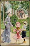 Lady and Children Waving at Elephant Ride