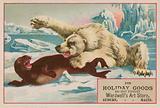 Polar bear attacking a seal