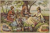 Family having a picnic consisting of canned and bottled food and drink