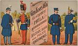 Advertisement for George Evans & Co, manufacturers of military, band and police uniforms, 132 N Fifth Street, Philadelphia