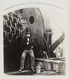 Isambard Kingdom Brunel, designer of the Great Eastern, with the launching gear