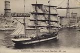 Sailing ship entering the Old Port, Marseilles, France