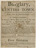Burglary in Kentish Town in 1798. Reward of £5.