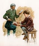 Tudor boy being taught
