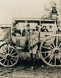 The Deadwood stagecoach in London - Buffalo Bill standing, John Nelson in the box