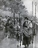 Scene on the Thames Embankment – Grim contrast in the social scale