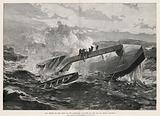 The rescue of the crew of the Cleopatra, at dawn in the Bay of Biscay